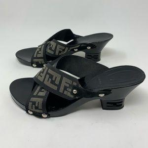 FENDI black zucca wooden clog wedges